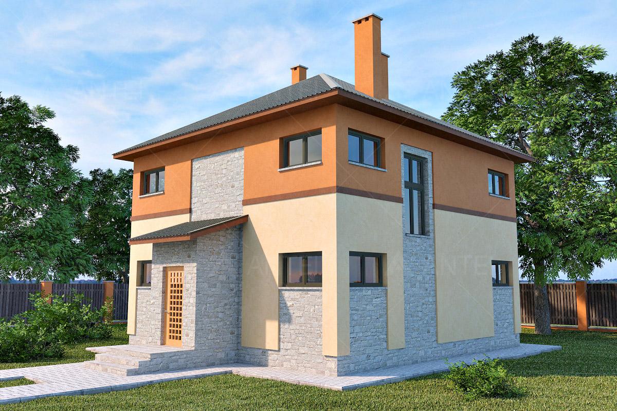 Проект двухэтажного дома с подвалом и верандой «КД-19» - фото №1