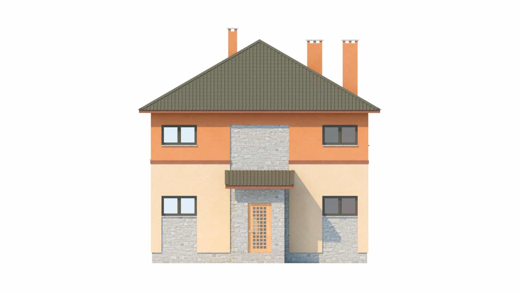 Фасад двухэтажного дома с подвалом и верандой «КД-19» - спереди
