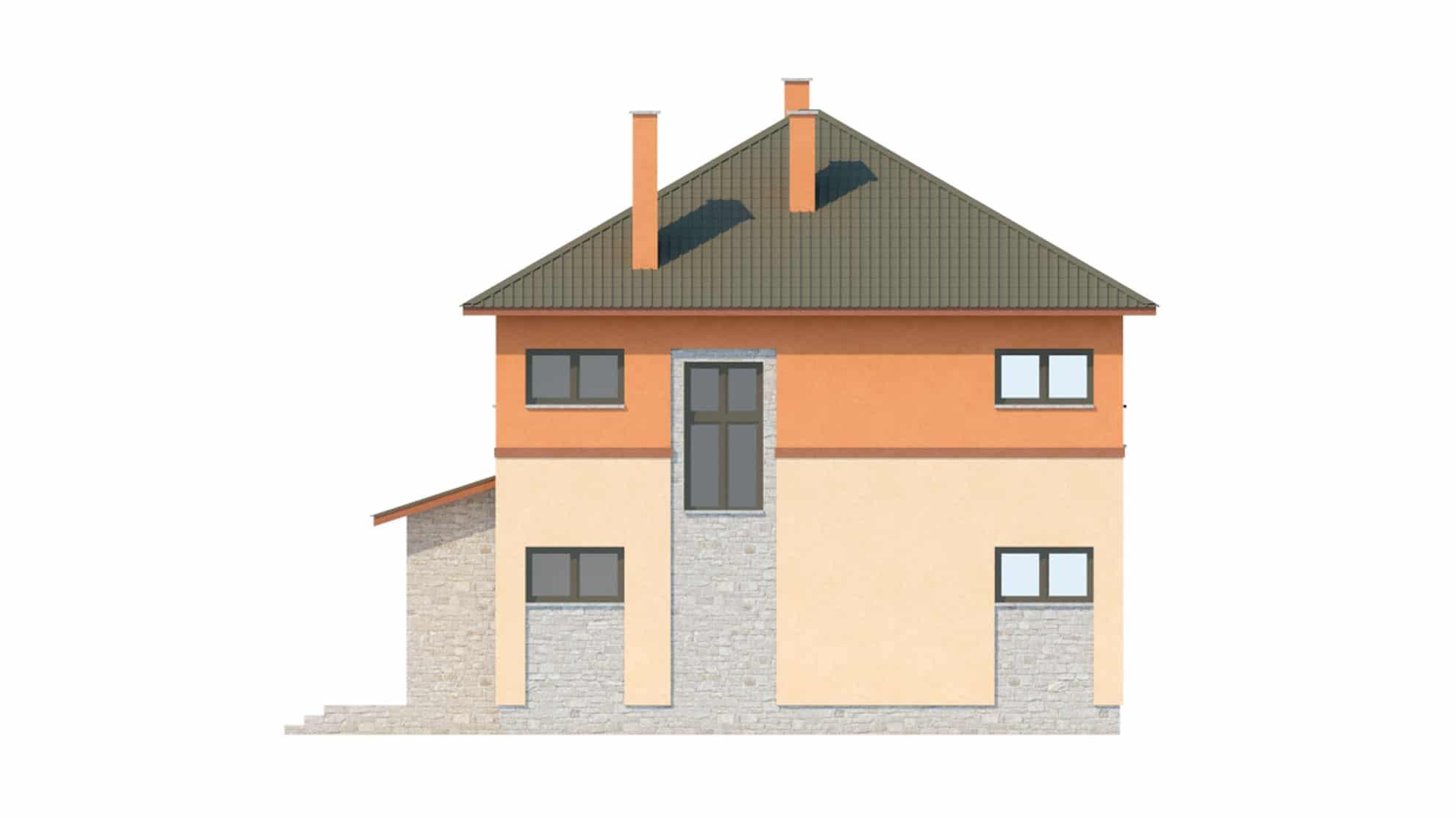 Фасад двухэтажного дома с подвалом и верандой «КД-19» - справа