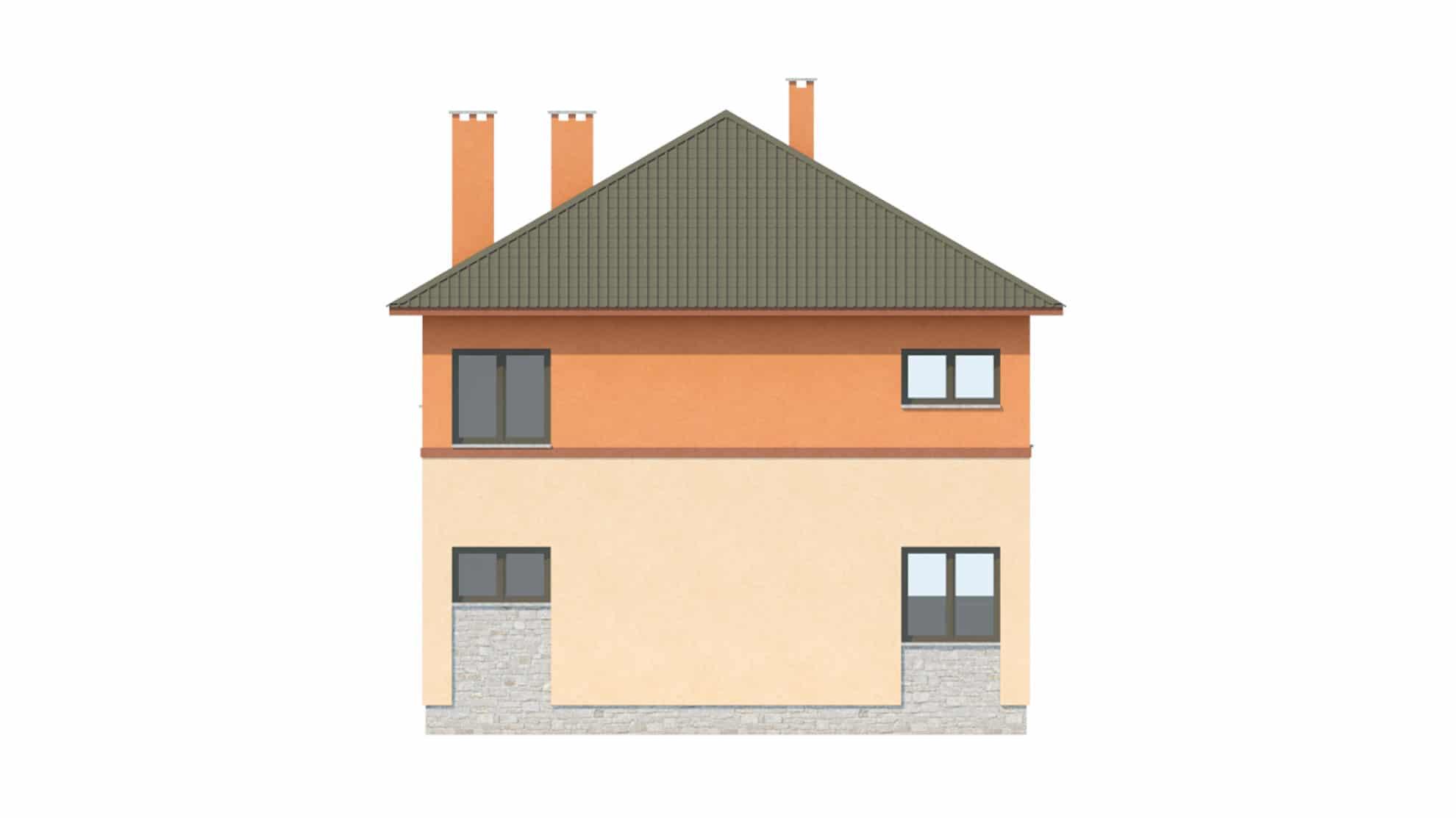 Фасад двухэтажного дома с подвалом и верандой «КД-19» - сзади