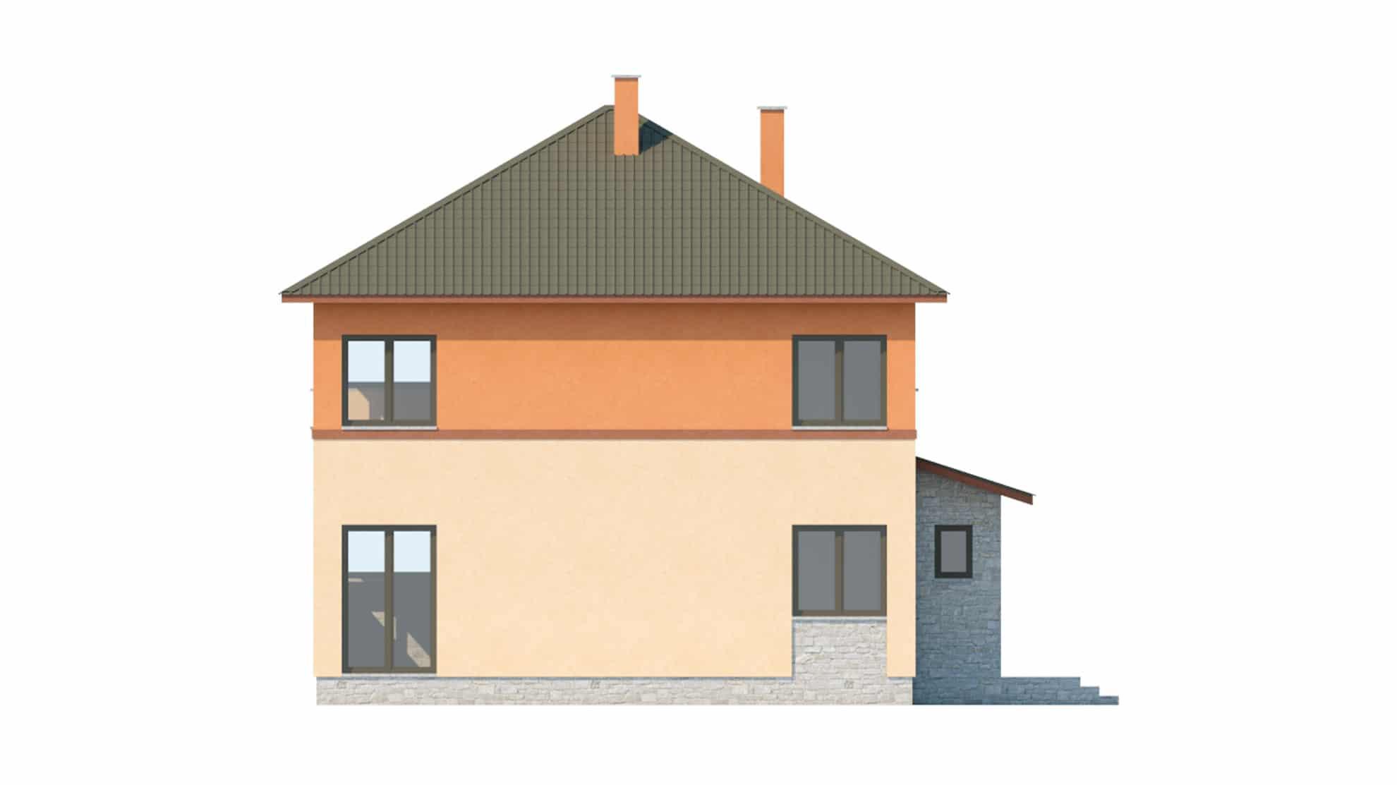 Фасад двухэтажного дома с подвалом и верандой «КД-19» - слева