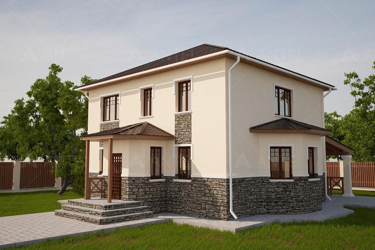 Проект двухэтажного дома с навесом «КД-22» - фото №1