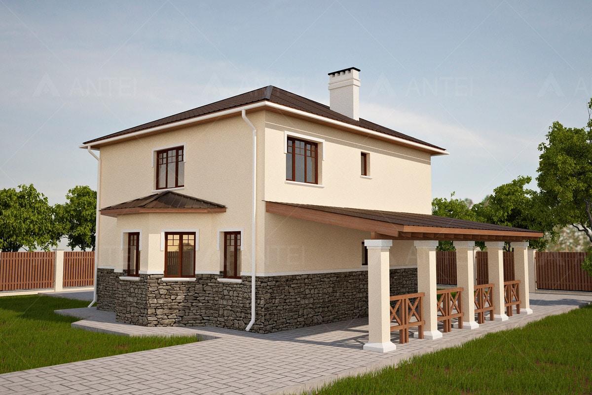 Проект двухэтажного дома с навесом «КД-22» - фото №2