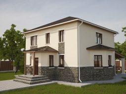 Проект двухэтажного дома с навесом «КД-22»