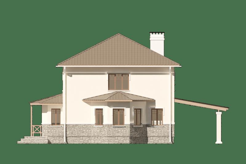 Фасад двухэтажного дома с навесом «КД-22» - спереди