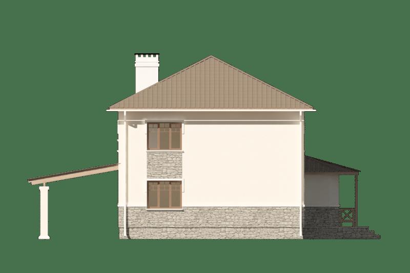Фасад двухэтажного дома с навесом «КД-22» - сзади