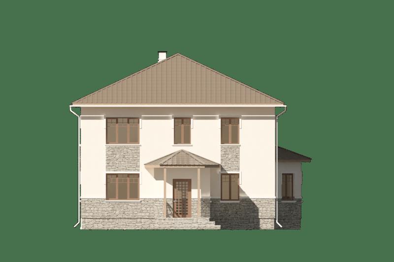 Фасад двухэтажного дома с навесом «КД-22» - слева