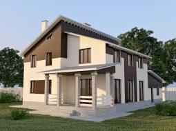 Проект двухэтажного дома с гаражом и террасой «КД-23»
