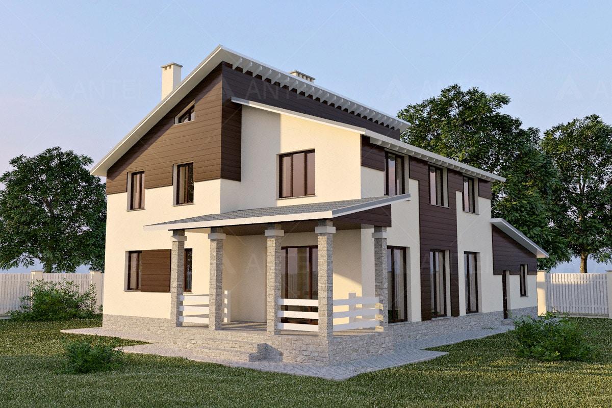 Проект двухэтажного дома с гаражом и террасой «КД-23» - фото №1