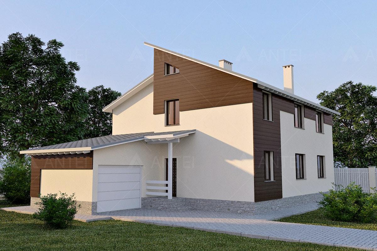 Проект двухэтажного дома с гаражом и террасой «КД-23» - фото №2