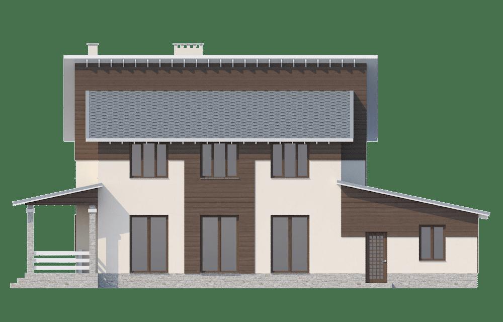 Фасад двухэтажного дома с гаражом и террасой «КД-23» - справа