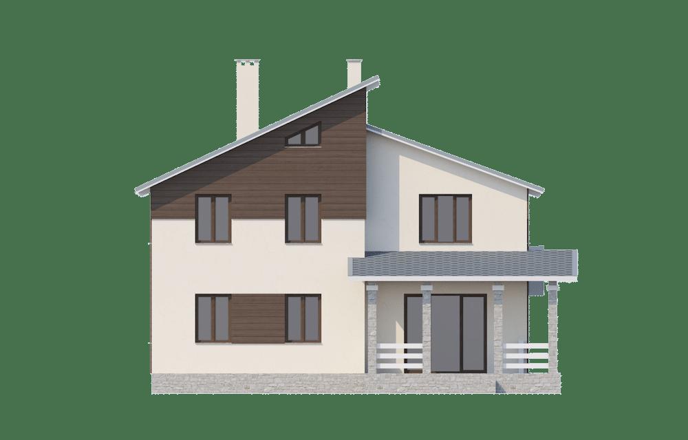 Фасад двухэтажного дома с гаражом и террасой «КД-23» - спереди