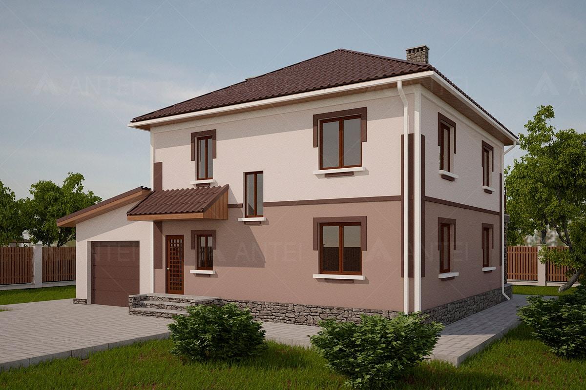 Проект двухэтажного дома с гаражом, балконом и террасой «КД-24» - фото №1