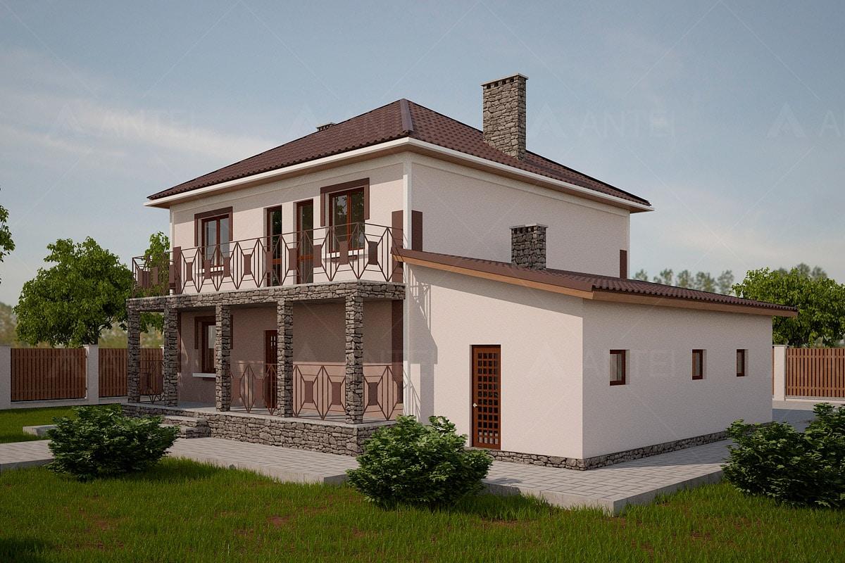 Проект двухэтажного дома с гаражом, балконом и террасой «КД-24» - фото №2