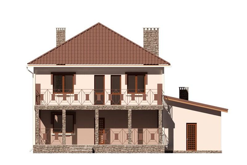 Фасад двухэтажного дома с гаражом, балконом и террасой «КД-24» -сзади