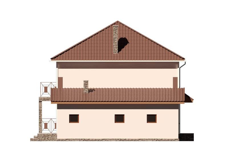 Фасад двухэтажного дома с гаражом, балконом и террасой «КД-24» -слева