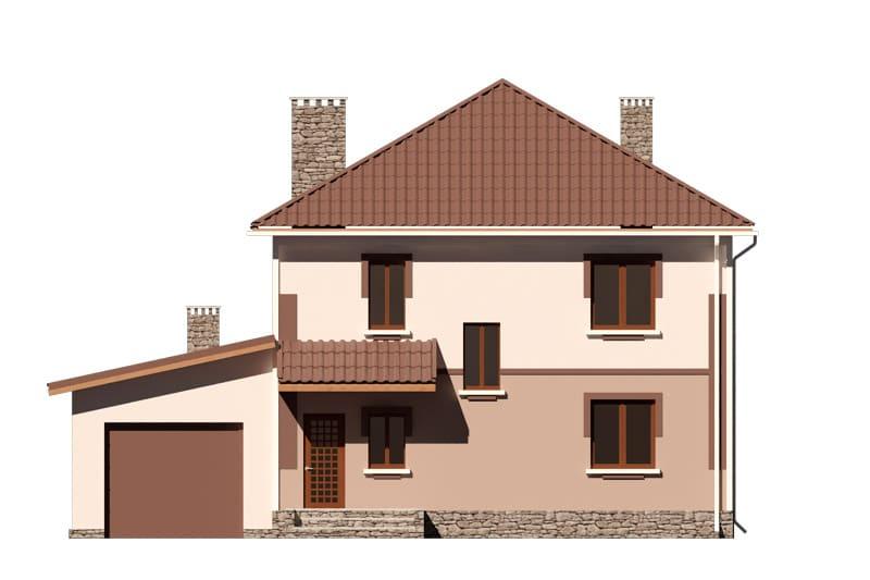 Фасад двухэтажного дома с гаражом, балконом и террасой «КД-24» -спереди