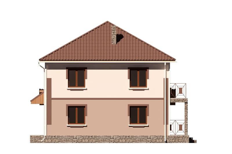 Фасад двухэтажного дома с гаражом, балконом и террасой «КД-24» -справа