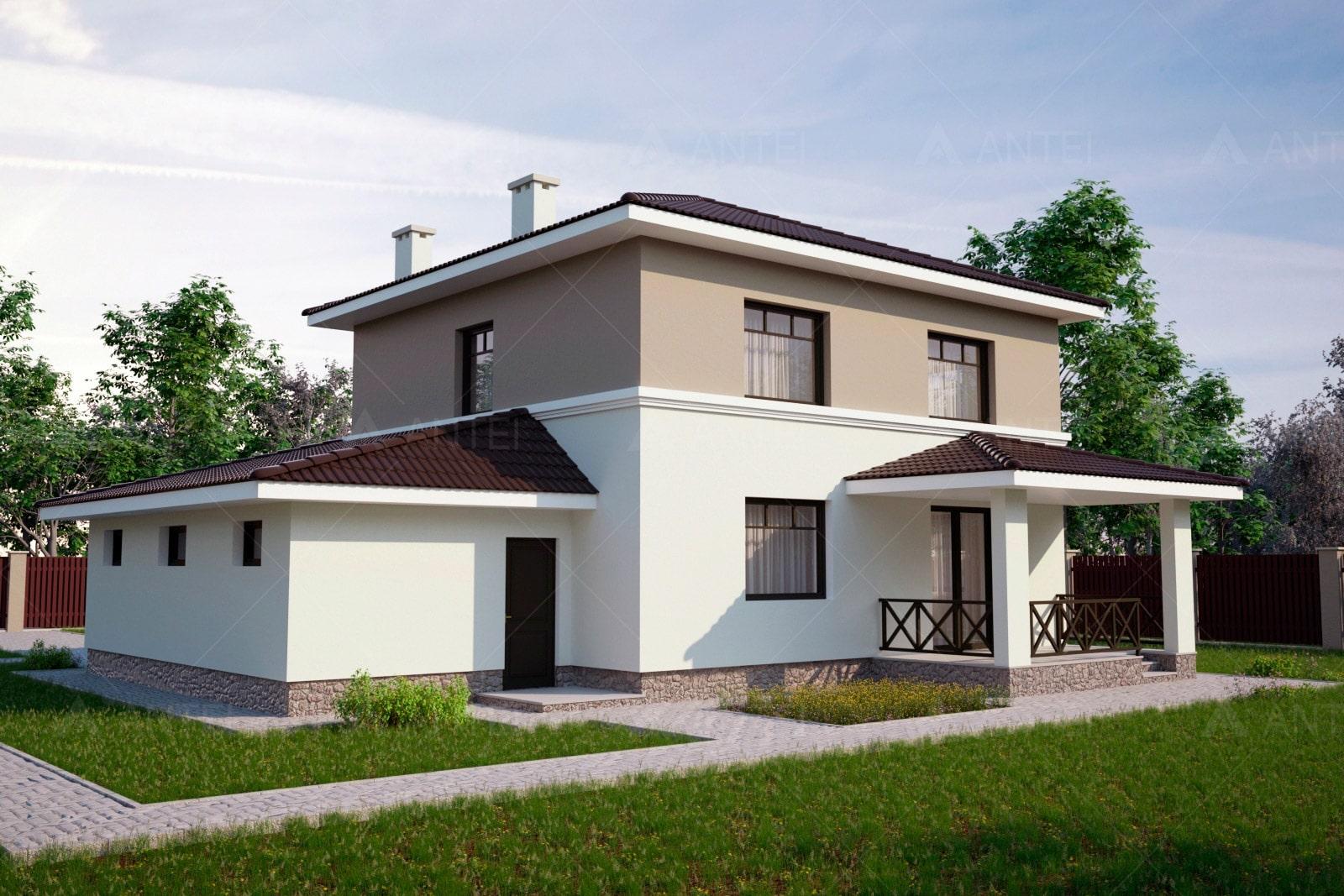 Проект двухэтажного дома с гаражом и террасой «КД-25» - фото №1