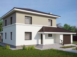 Проект двухэтажного дома с гаражом и террасой «КД-25»