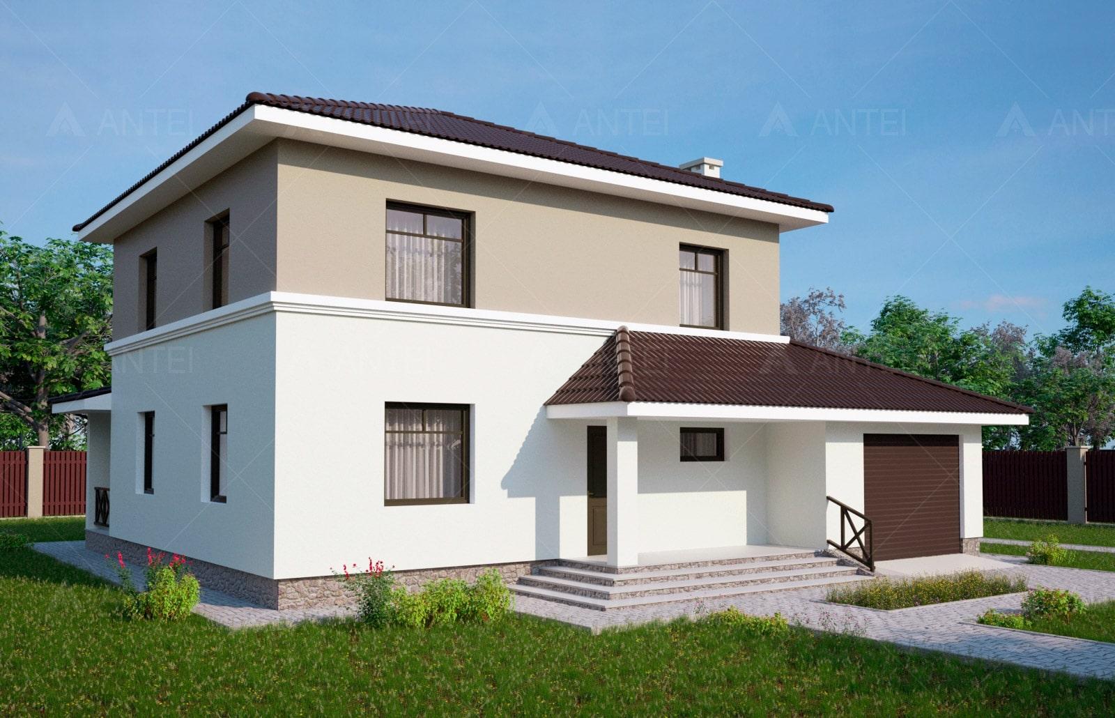 Проект двухэтажного дома с гаражом и террасой «КД-25» - фото №2