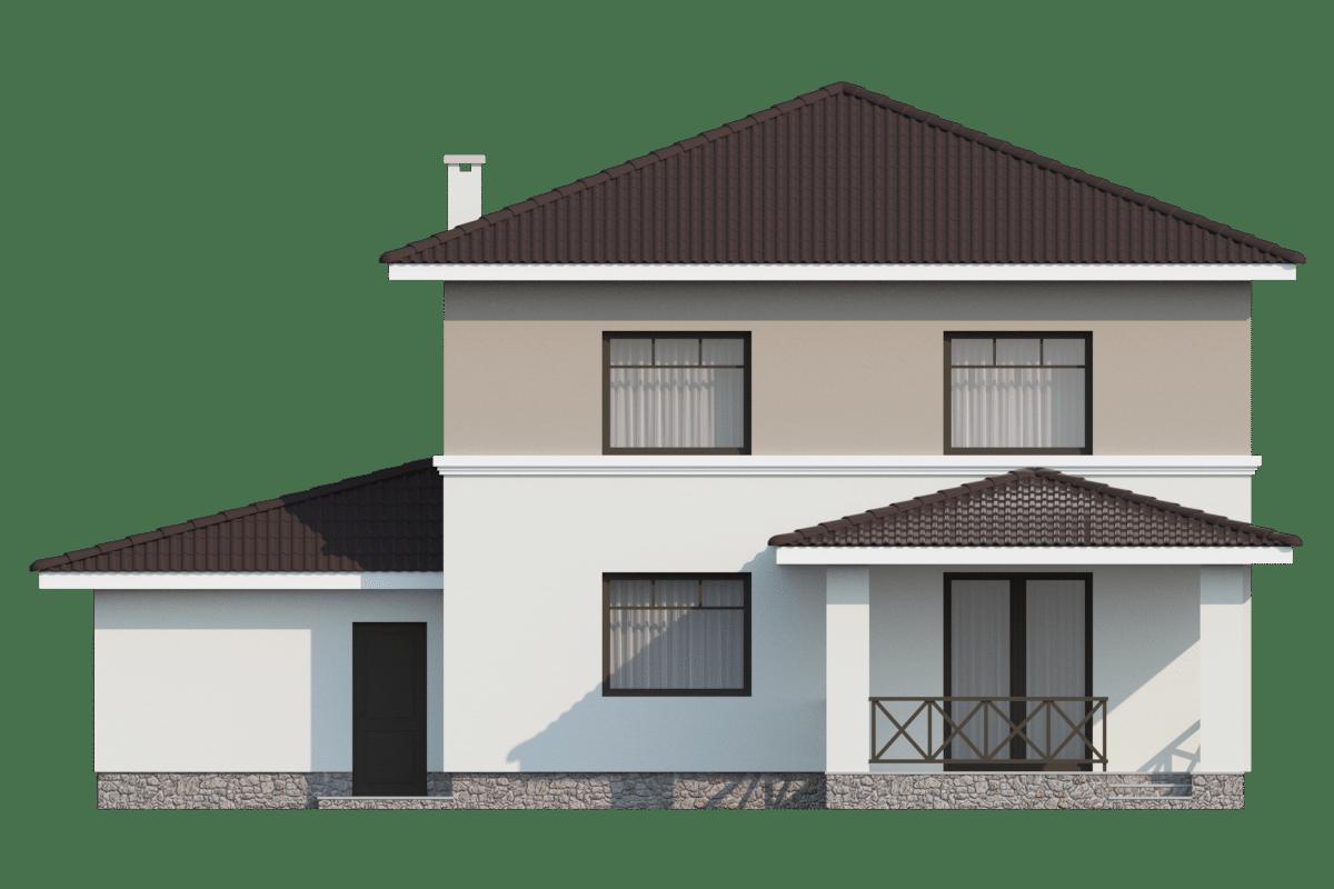 Фасад двухэтажного дома с гаражом и террасой «КД-25» - сзади