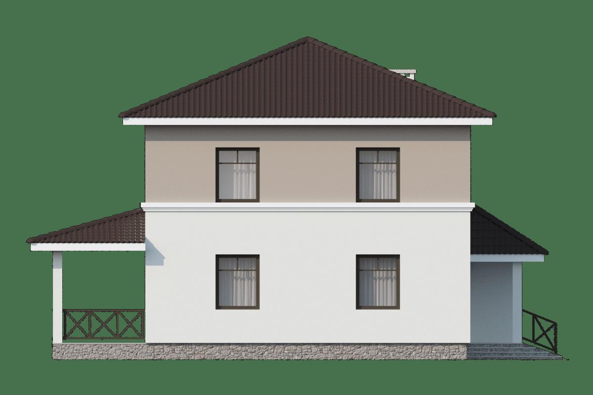 Фасад двухэтажного дома с гаражом и террасой «КД-25» - слева