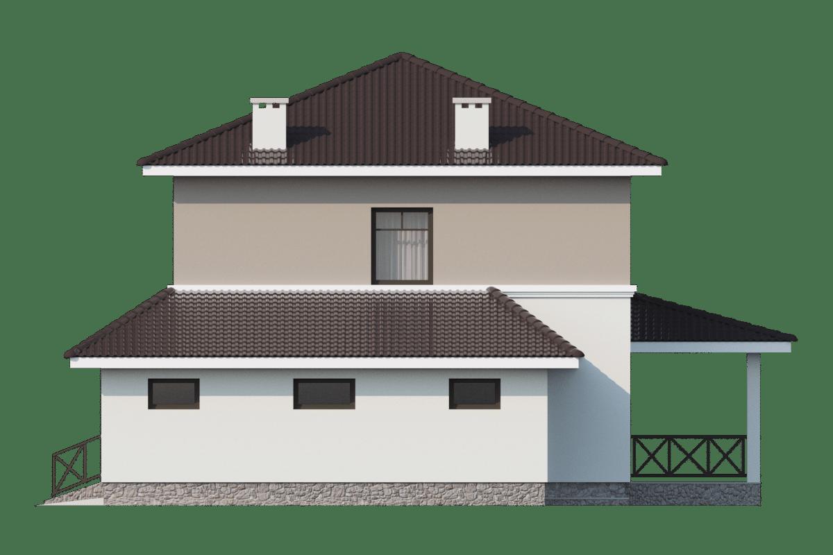 Фасад двухэтажного дома с гаражом и террасой «КД-25» - справа