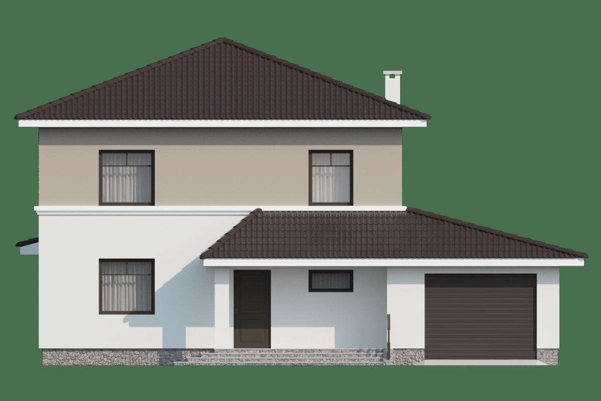 Фасад двухэтажного дома с гаражом и террасой «КД-25» - спереди