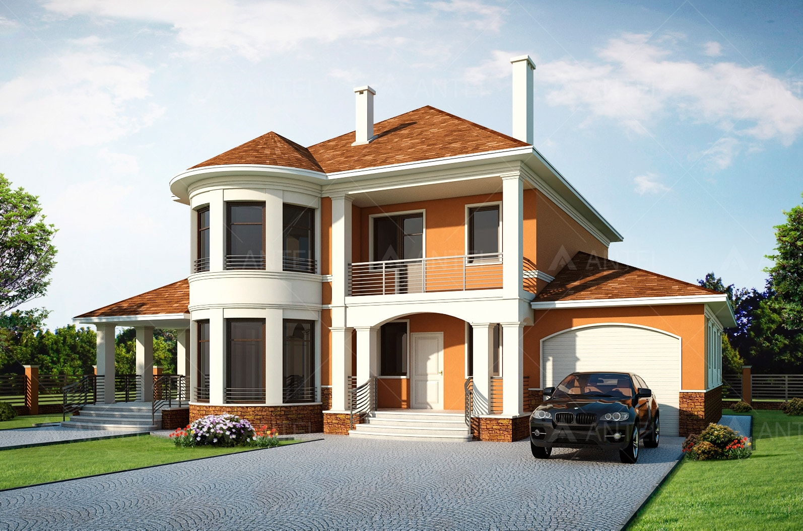 Проект двухэтажного дома с гаражом, террасой и подвалом «КД-26» - фото №1