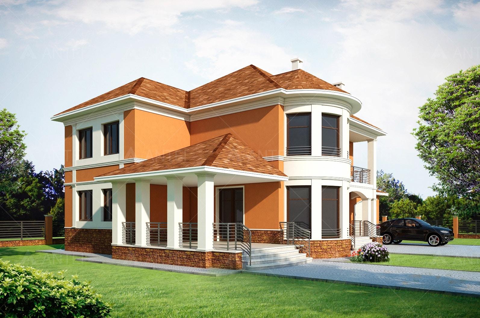 Проект двухэтажного дома с гаражом, террасой и подвалом «КД-26» - фото №2