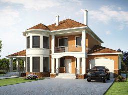 Проект двухэтажного дома с гаражом, террасой и подвалом «КД-26»