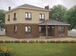 Проект двухэтажного дома с террасой «КД-27»