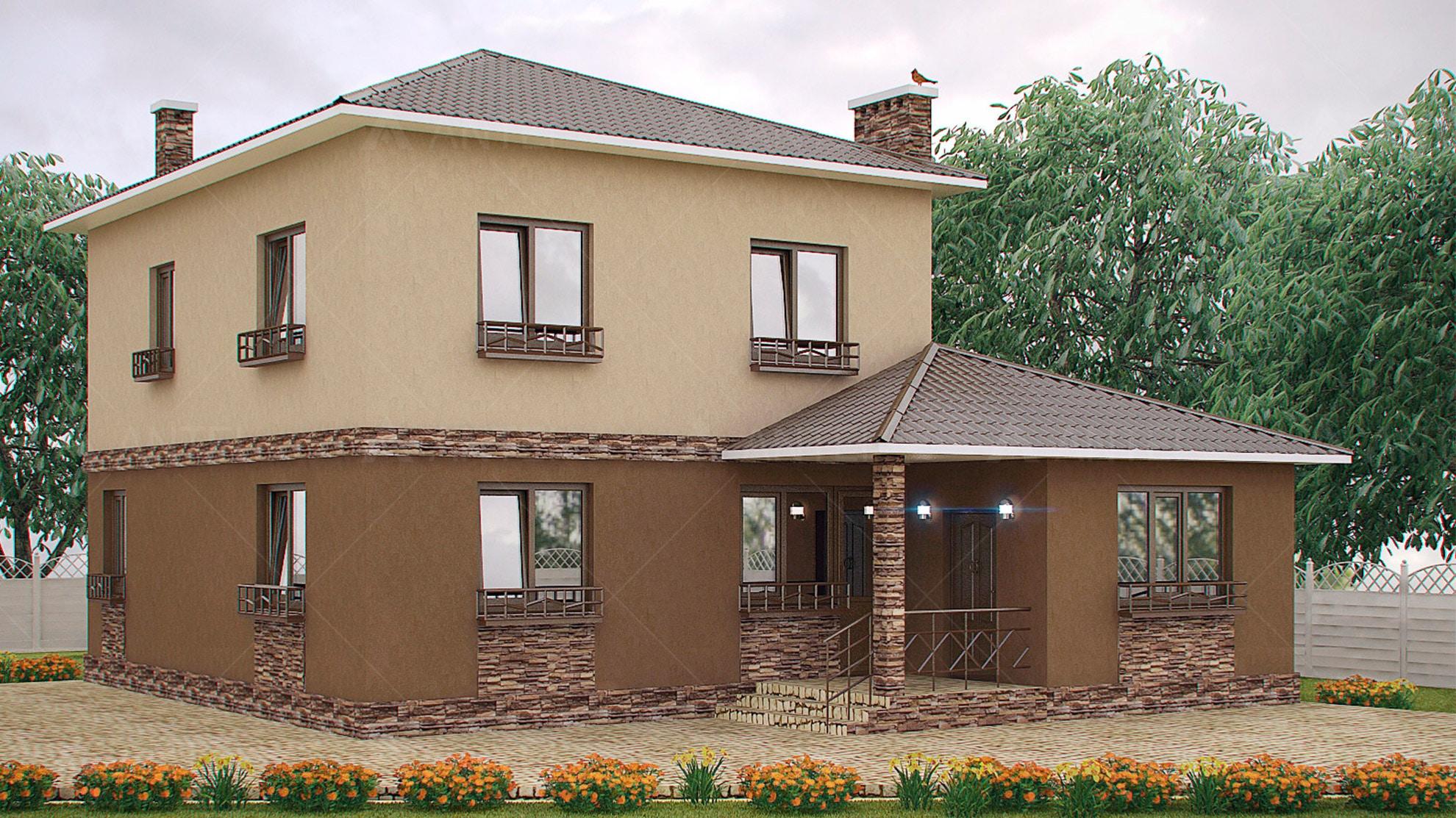 Проект двухэтажного дома с террасой «КД-27» - фото №1