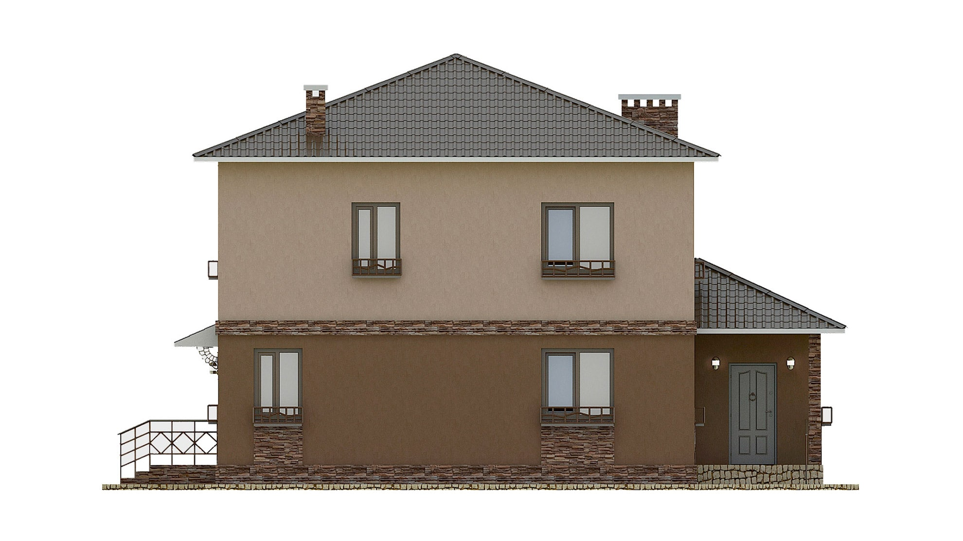 Фасад двухэтажного дома с террасой «КД-27» - справа