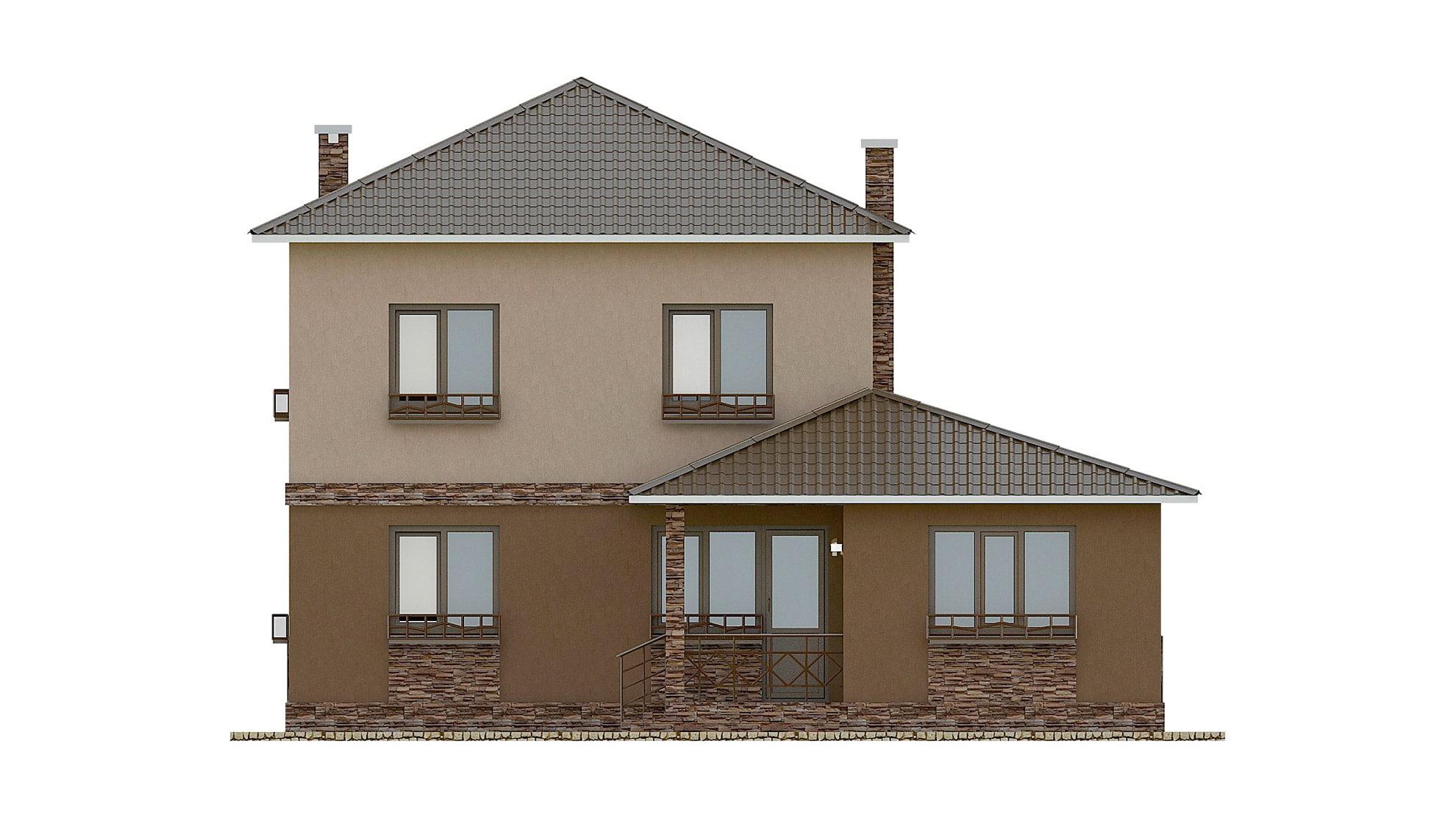 Фасад двухэтажного дома с террасой «КД-27» - сзади