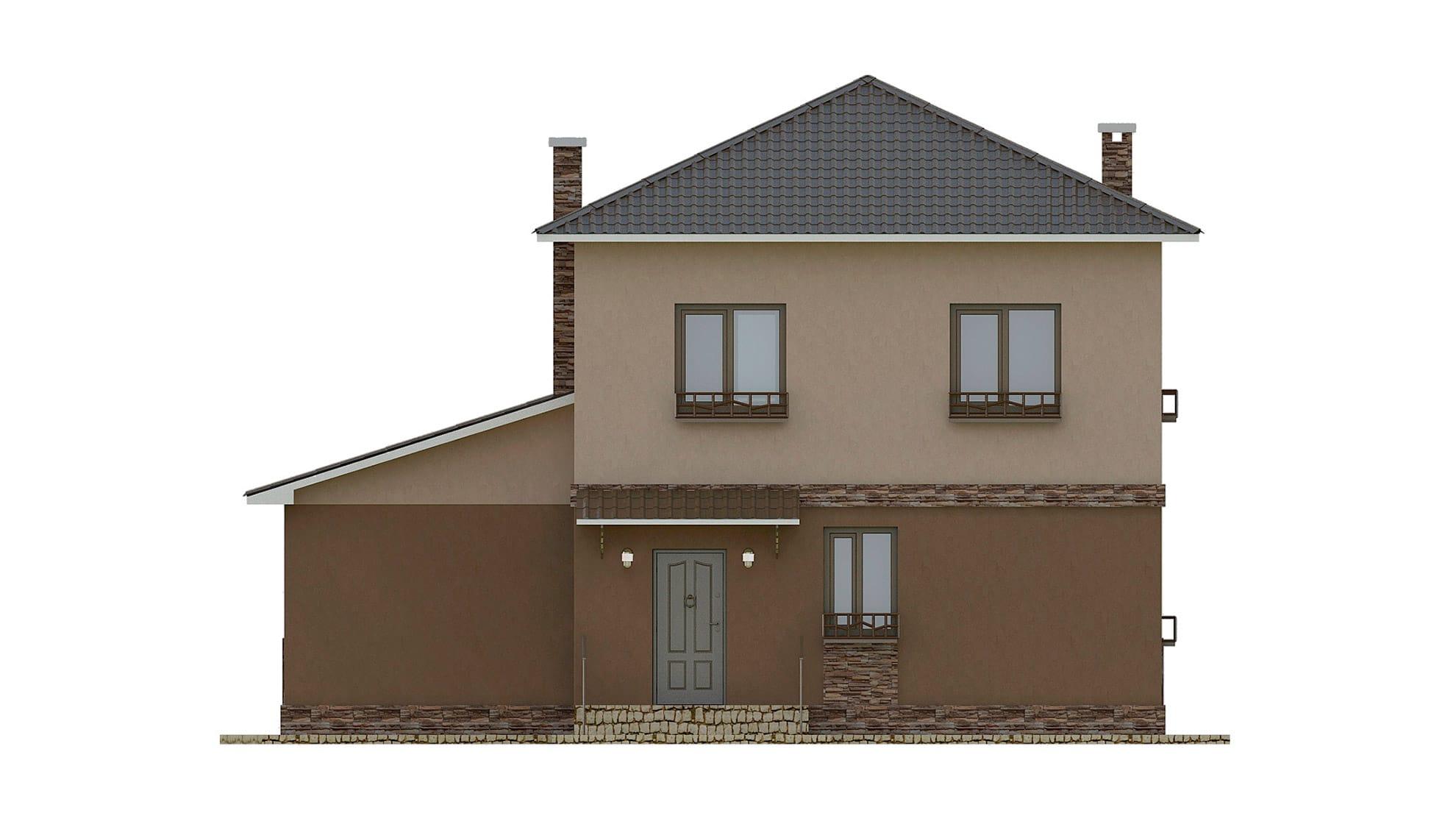 Фасад двухэтажного дома с террасой «КД-27» - спереди