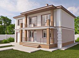 Проект двухэтажного дома с гаражом, террасой и балконом «КД-29»