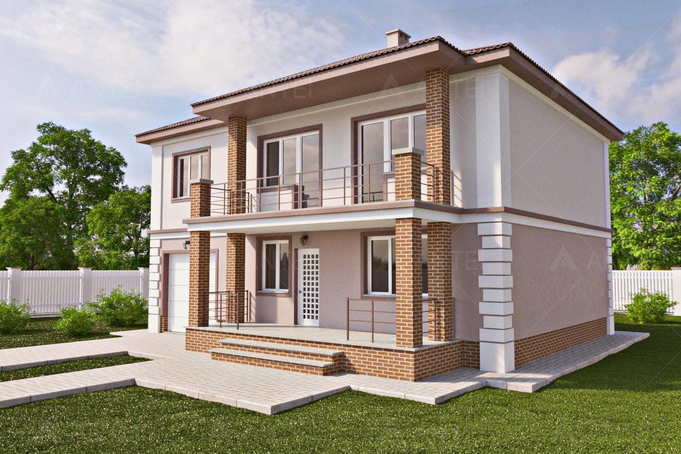 Проект двухэтажного дома с гаражом, террасой и балконом «КД-29» - фото №1