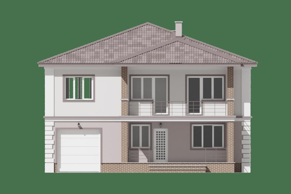 Фасад двухэтажного дома с гаражом, террасой и балконом «КД-29» - спереди