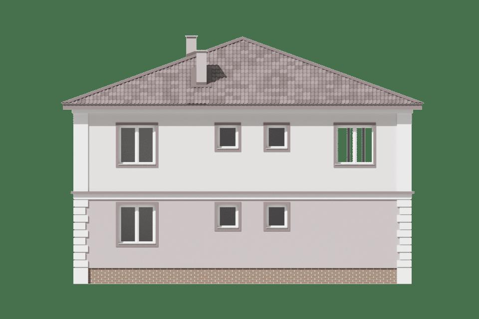Фасад двухэтажного дома с гаражом, террасой и балконом «КД-29» - сзади