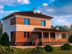 Проект двухэтажного дома с гаражом и террасой «КД-3»