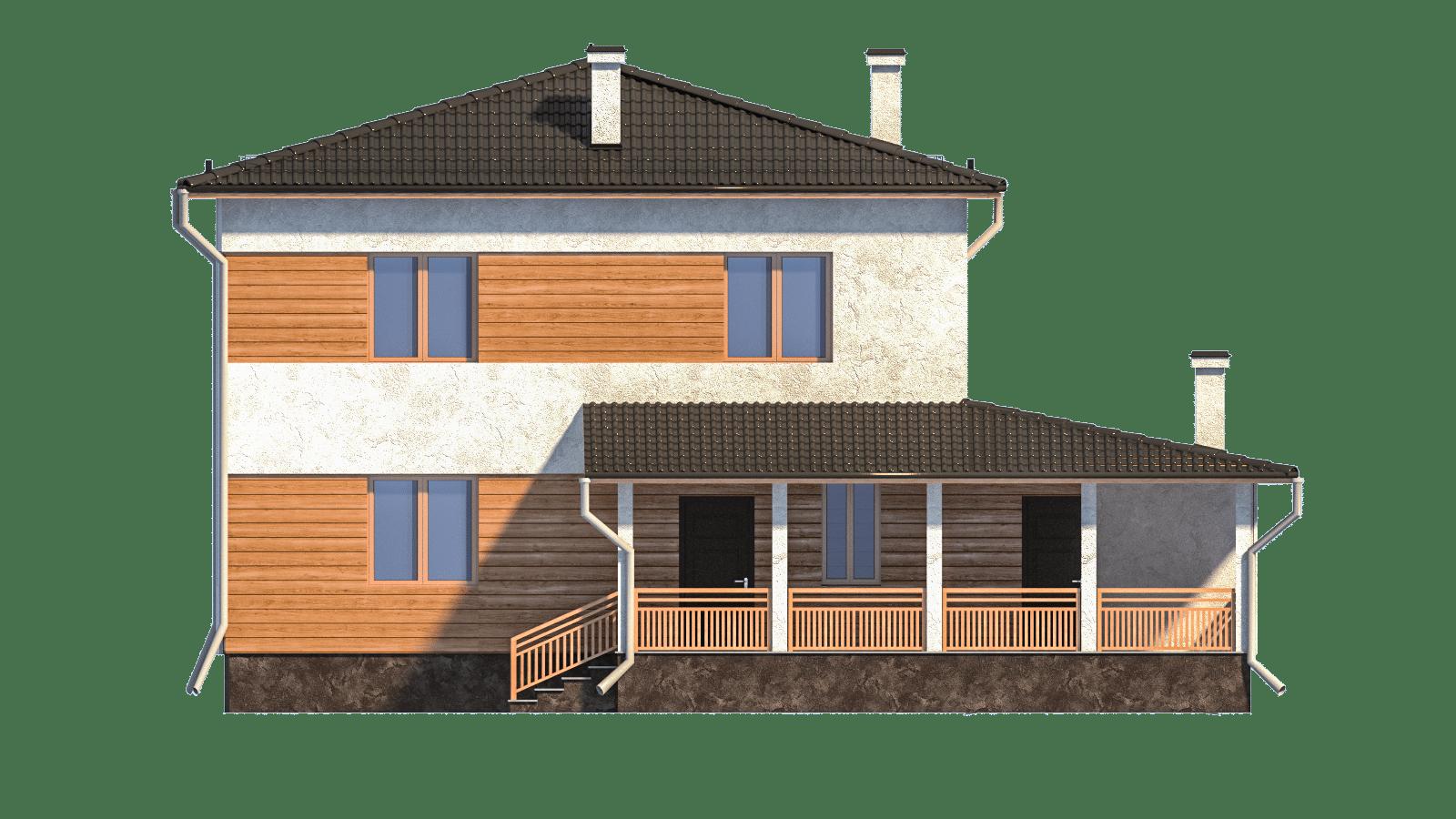 Фасад двухэтажного дома с гаражом и террасой «КД-3» - спереди