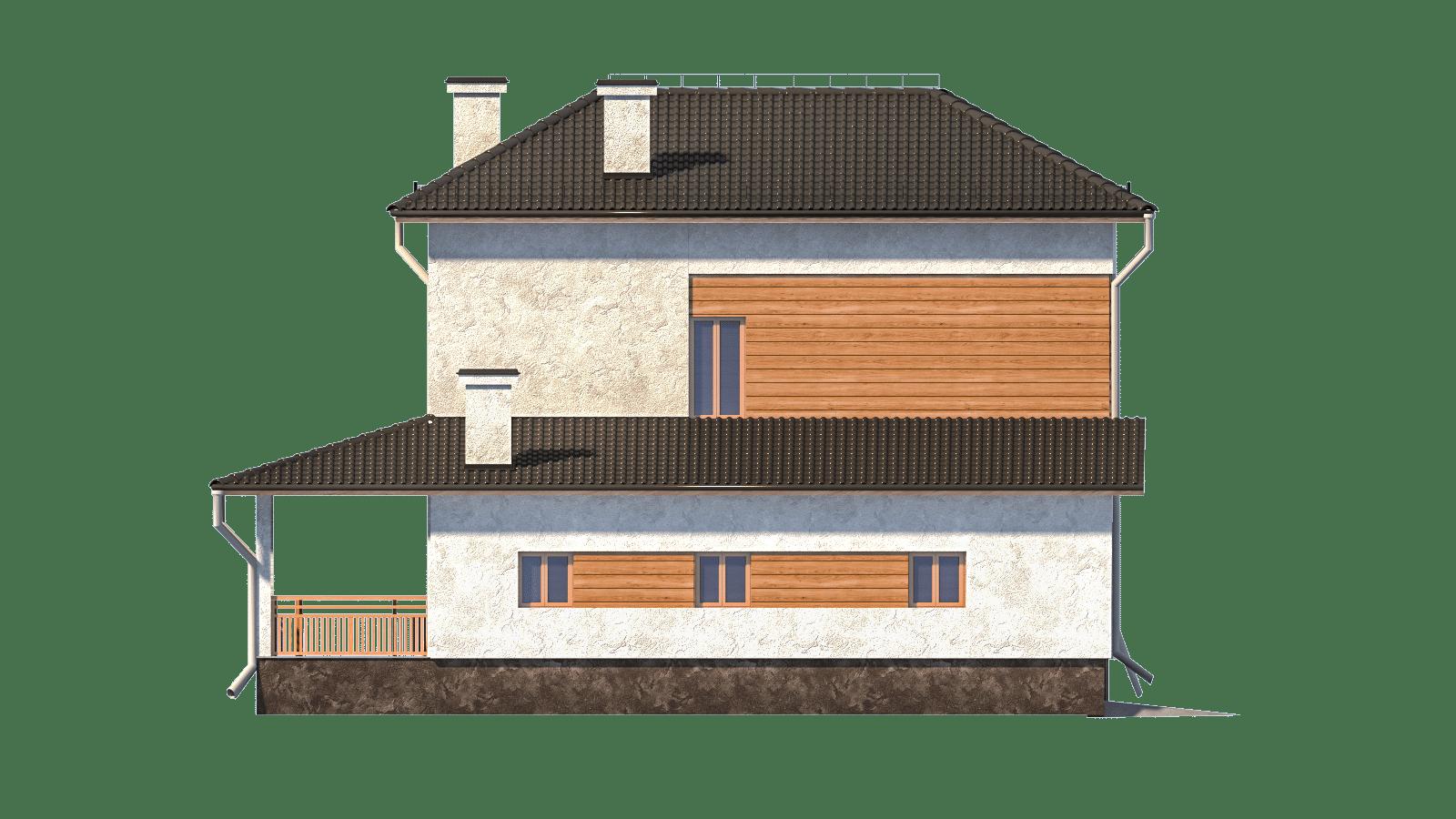 Фасад двухэтажного дома с гаражом и террасой «КД-3» - справа