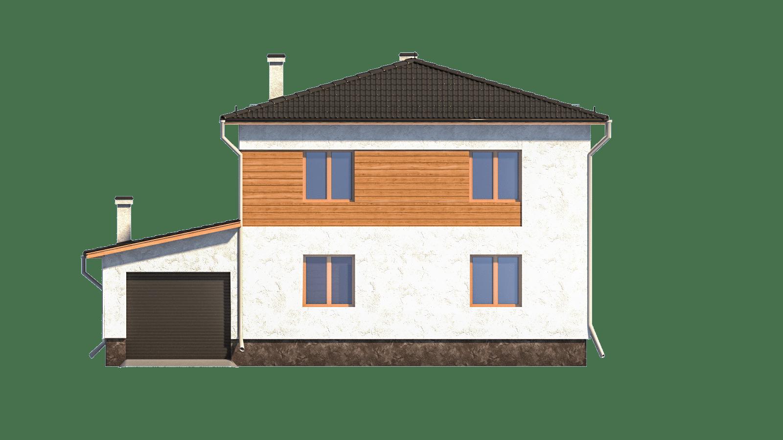 Фасад двухэтажного дома с гаражом и террасой «КД-3» - сзади