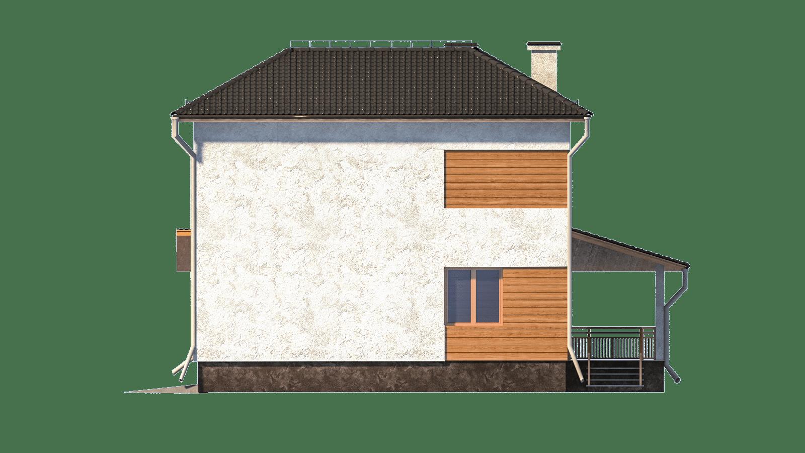 Фасад двухэтажного дома с гаражом и террасой «КД-3» - слева
