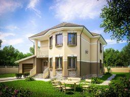 Проект двухэтажного дома с гаражом и балконом «КД-31»