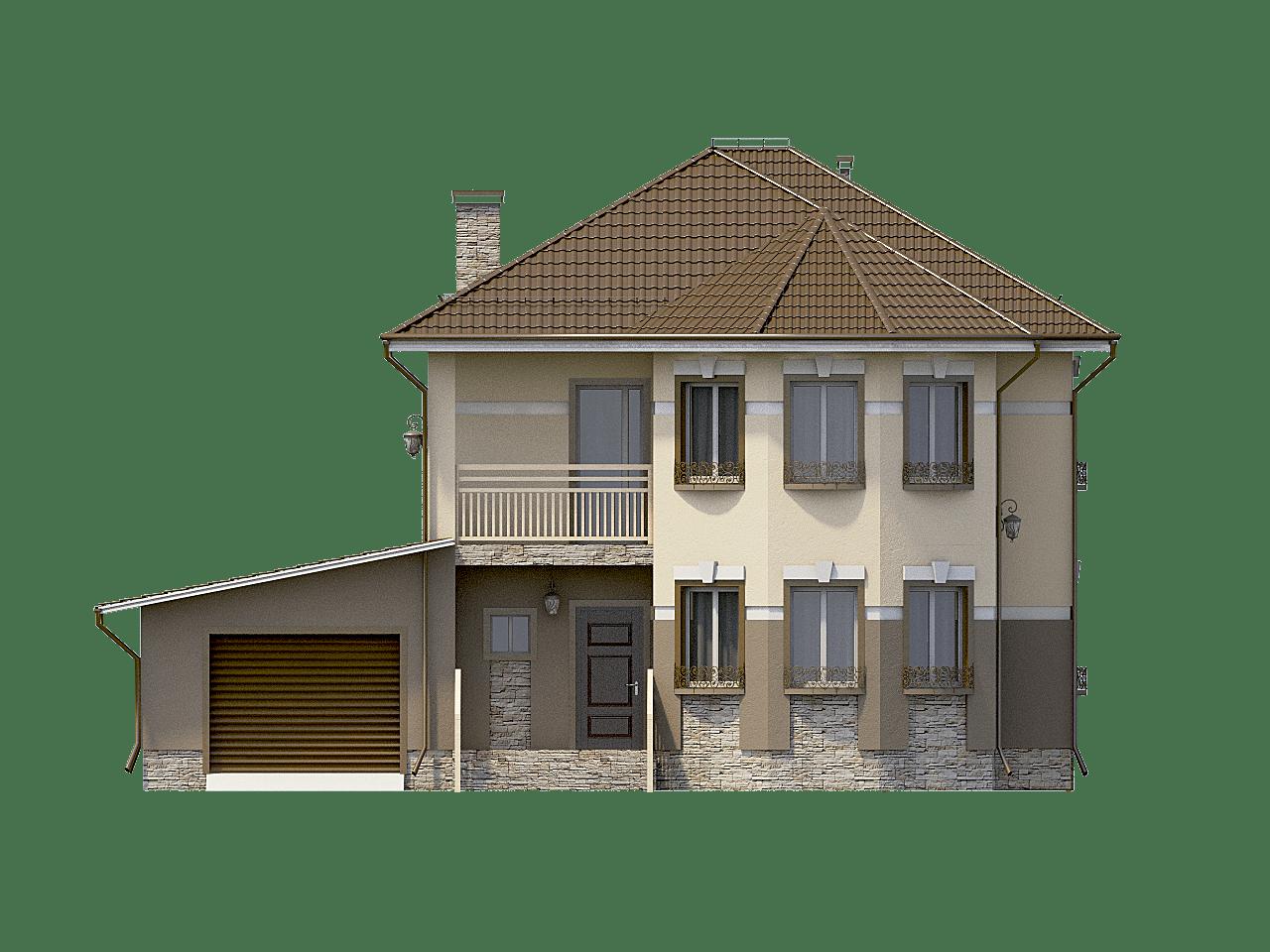 Фасад двухэтажного дома с гаражом и балконом «КД-31» - спереди