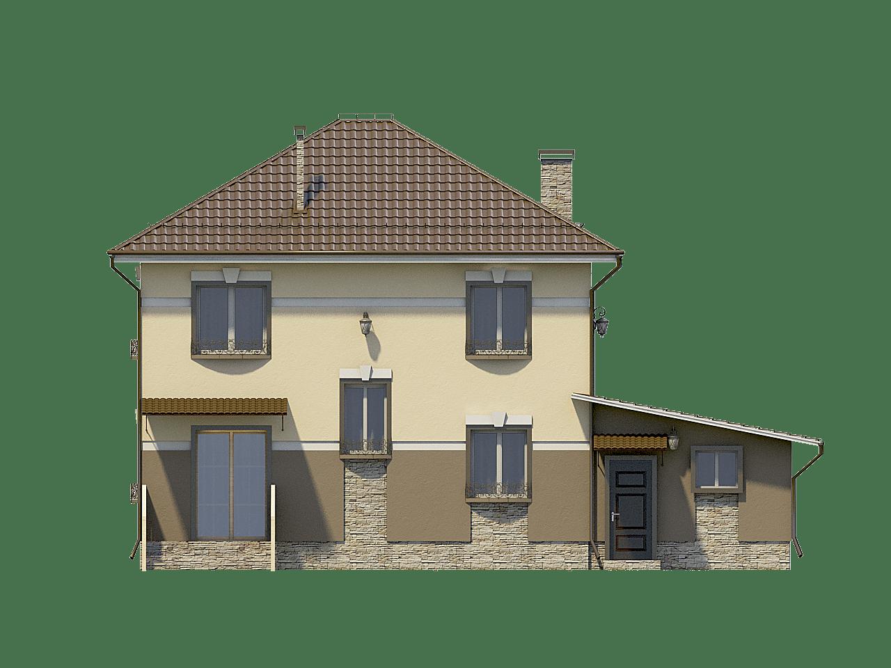 Фасад двухэтажного дома с гаражом и балконом «КД-31» - сзади