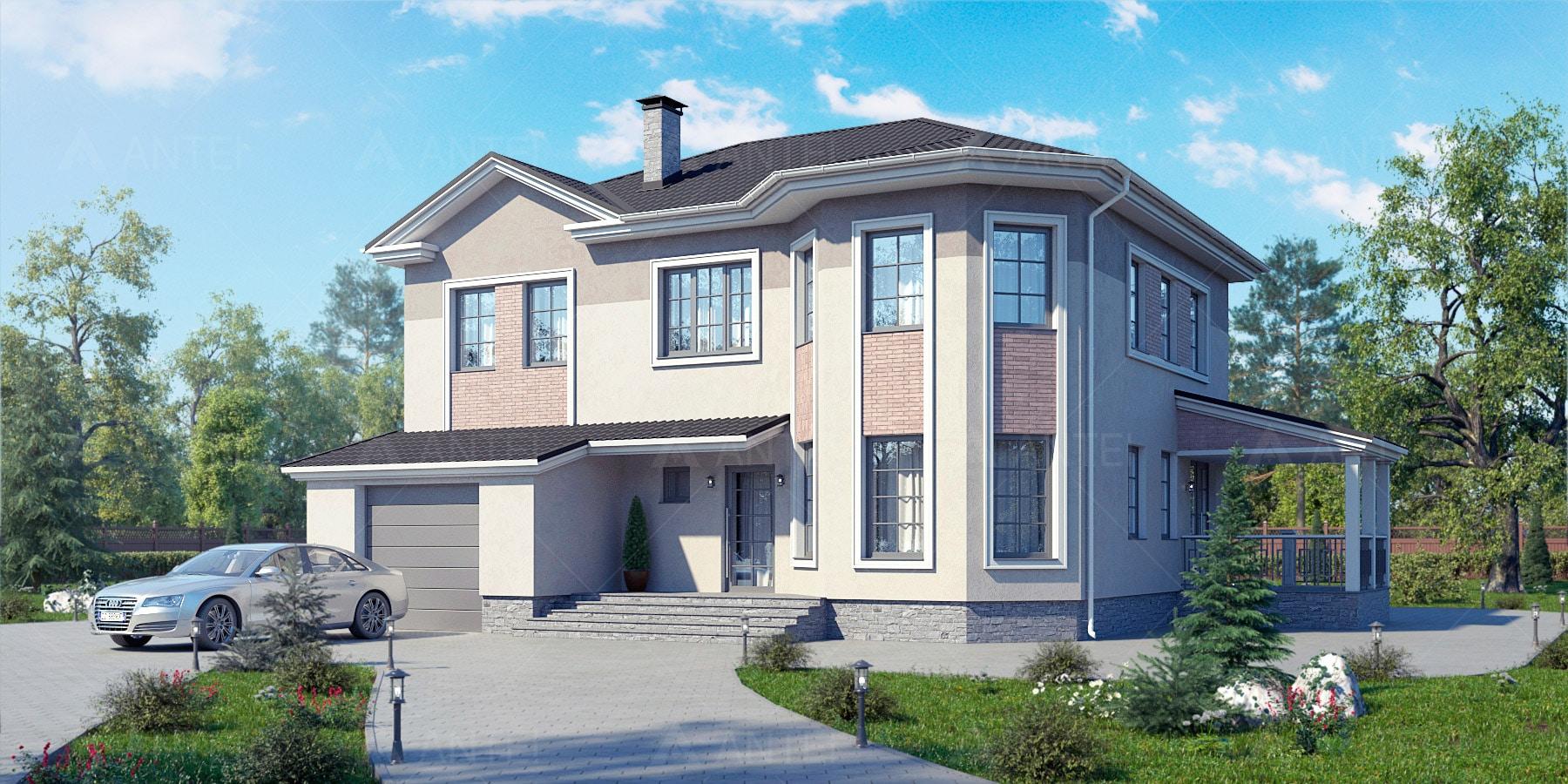 Проект двухэтажного дома с гаражом, террасой «КД-32» - фото №1
